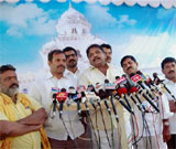 Congress, TDP and PRP MLAs who have submitted their resignation addresses media in Hyderabad on Thursday. PTI