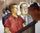 A sketch showing terror suspect David Coleman Headley (orange shirt) appearing in a court in Chicago on Wednesday. PTI