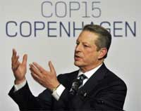 Former US Vice President Al Gore gestures as he joins cabinet ministers from Nordic countries for discussion on Greenland's ice sheet at the UN Climate summit in Copenhagen on Monday. AP