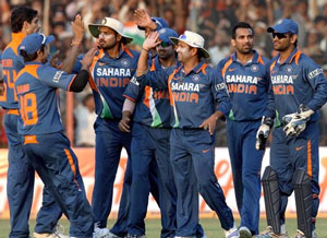 Team India celebrating after defeating Sri lanka by 3 runs in the first ODI at Rajkot (AP)
