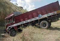 Four killed as lorry falls into trench