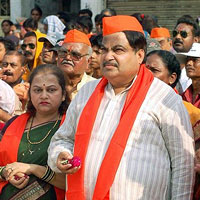 Nitin Gadkari, who is all set to take over as the new BJP president, along with his wife at Ganesh Temple in Nagpur on Friday. PTI