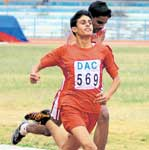 SPRINTING AHEAD: Prashanth Dwivedi (left) of St Philomena's powers to the boys' under-16 100M gold at the Deccan Athletic Club's weekend meet on Sunday. DH PHOTO