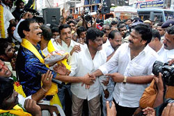 PRP President Chiranjeevi meets TDP leaders fasting for united Andhra Pradesh in Tirupati on Friday. PTI