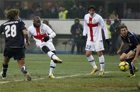 Inter Milan striker Samuel Eto'o of Cameroon, second from left, goes to score a goal during their Serie A soccer match against Lazio, at the San Siro stadium in Milan on Sunday.AP