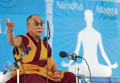 advocating religious tolerance: Buddhist spiritual leader Dalai Lama speaks during at a discourse organised at Buddha Vihara in Gulbarga on Sunday. dh photo