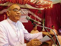 Bishop of  Mangalore Aloysius Paul D'Souza speaking after inaugurating the golden death  anniversary ceremony of 'Servant of God' Raymond F C Mascarenhas at St Sebastian  Platinum Jubilee Auditorium in Mangalore on Wednesday.  dh photo