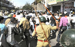 Police lathi-charge pro-Telangana students during a protest in Hyderabad on Thursday. PTI
