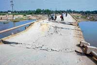 wanton act: The Hagari bridge in Bellary taluk which collapsed on Thursday. dh photo