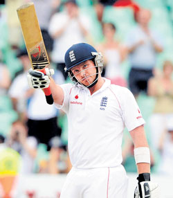 England's Ian Bell acknowledges the crowd after reaching his ton against South Africa on Tuesday. AP