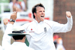 England off-spinner Graeme Swann celebrates after getting rid of Dale Steyn at Kingsmead in Durban on Wednesday. AP