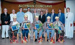 The winners of Aloysian Alumni Awards 2010- (From left) Prof Amrith Someshwar, Capt J P Menezes, Lt Gen B C Nanda, Lawrence D'Souza and Stanislus D'Souza among others, at the  Aloysian conclave at AIMIT campus in Beeri on Sunday. DH photo