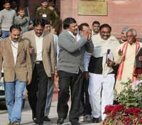 Praja Rajyam chief Chiranjeevi, Andhra Pradesh BJP chief Bandaru Dattatreya and other leaders come out after an all-party meeting on Telangana issue in New Delhi on Tuesday. The meeting was convened by Union Home Minister P Chidambaram. PTI