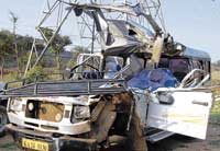 The mangled remains of the vehicle that met with an accident in Chitradurga. dh photo