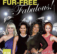 The PETA advertisement that features Carrie Underwood, first lady Michelle Obama, Oprah Winfrey and Tyra Banks. AP