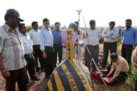 IBM officials Ramamohan, Selvan and IBM Regional Controller M S Wagmore resumed the survey work here on Friday. dh Photo