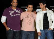 The cast of 3 idiots, R. Madhavan , Aamir Khan and Sharman Joshi. AFP