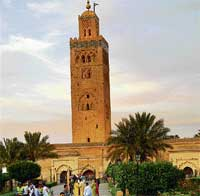 Towering structure: The 221 foot-high square minaret of the Koutoubia Mosque is the tallest in Marrakesh and is an important city landmark.