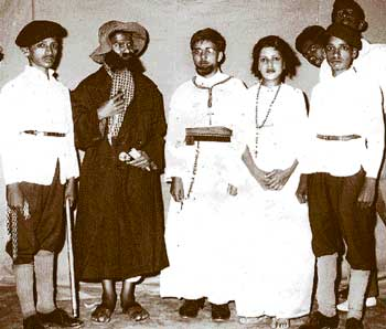 cute Vishnuvardhan (second from right) dressed as a nun in a school play.
