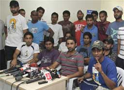 Indian hockey players address a press conference in Pune on Tuesday. According to news reports, Indian national hockey players refused to practice demanding payment of their dues. The Hockey World Cup begins in New Delhi on Feb. 28. AP