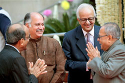 Finance Minister Pranab Mukhejee with MoS for Telecommunications Gurudas Kamat, RBI Governor D Subbarao and former Governor Bimal Jalan at the Platinum Jubilee celebration of Reserve Bank of India in New Delhi on Saturday. PTI