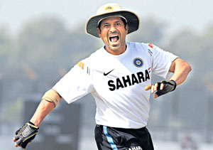 Sachin Tendulkar during a training session on the eve of the first Test against Bangladesh on Sunday. AFP