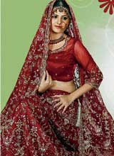 Maroons double up as bridal lehengas.
