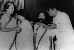 Former Prime Minister Indira Gandhi presenting and award to K S Ashwath (R). DH File Photo