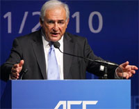 International Monetary Fund (IMF) Managing Director Dominique Strauss-Kahn addresses the Asian Financial Forum in Hong Kong on Wednesday. AP