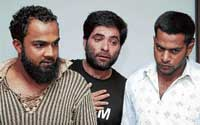 Mystery men: (From left) Alleged abductors Siraj, Naheed Sharief and Jabir arrested in connection with a kidnap case in Bangalore on Tuesday. dh photo