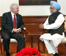 Prime Minister Manmohan Singh with US Secretary of Defense Robert Gates during a meeting in New Delhi. PTI
