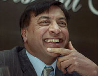 Steel Tycoon Lakshmi Mittal during a Rotary Club function in Mumbai on Thursday. PTI