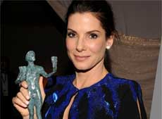 Actress Sandra Bullock poses backstage with the award for leading actress for her work in 'The Blind Side' at the 16th Annual Screen Actors Guild Awards on Saturday. AP