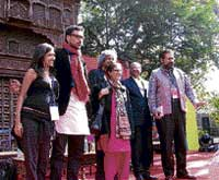 Pakistan human rights activist Asma Jahangir, writer Ali Sethi (in red scarf) and others at the Jaipur Literature Festival on Saturday.