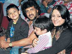 Together: Upendra and Priyanka with their children.