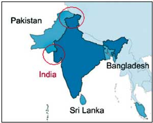 Avoidable Controversy: Areas circled are Indian territory but the map shows them as part of Pakistan.