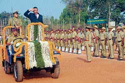 District-in-Charge Minister Krishna J Palemar receiving the guard of honour at Republic Day celebrations in Mangalore.