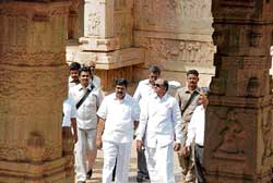 Union Home Minister P Chidambaram with Revenue Minister Karunakara Reddy visiting the Hazara Rama temple in Hampi on Friday. dh photo