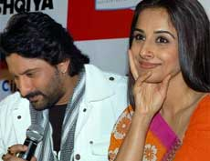 Arshad Warsi and Vidya Balan at a promotional event for their film Ishqiya in Noida on Thursday. PTI Photo