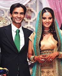 Sania Mirza and Mohammed Sohrab Mirza at their engagement ceremony in Hyderabad on July 10, 2009. File Photo/AFP
