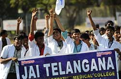 Medical students from the Telangana region shout slogans during a meeting at Osmania Medical College in Hyderabad. File Photo/AFP