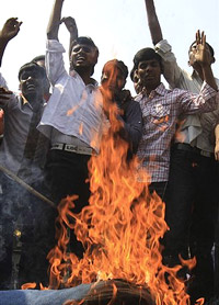 Student burn an effigy of Home Minister P. Chidambaram during a protest against the delay in the formation of a separate Telangana State, in Hyderabad on Friday. AP