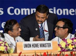Union Home Minister P. Chidambaram with MoS Ajay Maken and Registrar General & Census Commissioner, C Chandramouli during a discussion at the inauguration of the All India Conference on National Population Register (NPR) at Vigyan Bhavan in New Delhi on Thursday. PTI