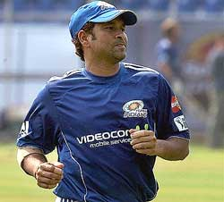 Mumbai Indians' captain Sachin Tendulkar during a practice session ahead of the IPL-3 in Mumbai on Thursday. PTI