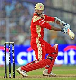 Bangalore Royal Challengers cricketer Rahul Dravid in action during the the IPL match of Kolkata Knight Riders (KKR) against Bangalore Royal Challengers in Kolkata on Sunday. PTI