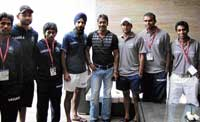 elated Ajay Devgan with the Indian hockey team.