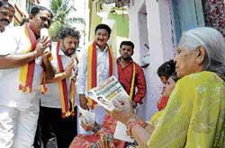 KRV chief Narayan Gowda campaigns for candidate A S Nagraj (Dr Rajkumar ward) at Dasarahalli.