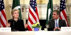 US Secretary of State Hillary Clinton (left) and Pakistan Foreign Minister Shah Mehmood Qureshi during the opening session of the US-Pakistan Strategic Dialogue on Wednesday. AP