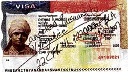 The copy of the US visa issued to Nithyananda from the US Consulate in Chennai in 2003. Date of birth circled in red.