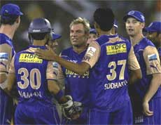 Rajasthan Royals celebrate the wicket of Deccan Chargers' Gibbs during their Indian Premier League-3 match at the Sardar Patel Stadium in Ahmedabad on Friday. PTI